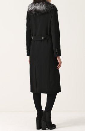 Двубортное пальто с отделкой из меха лисы Dolce & Gabbana черного цвета | Фото №4
