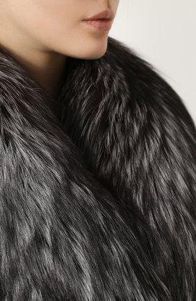 Двубортное пальто с отделкой из меха лисы Dolce & Gabbana черного цвета | Фото №5