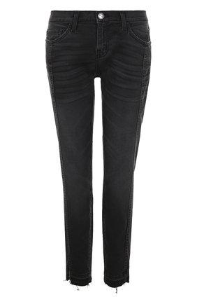 Укороченные джинсы с потертостями Current/Elliott черные   Фото №1