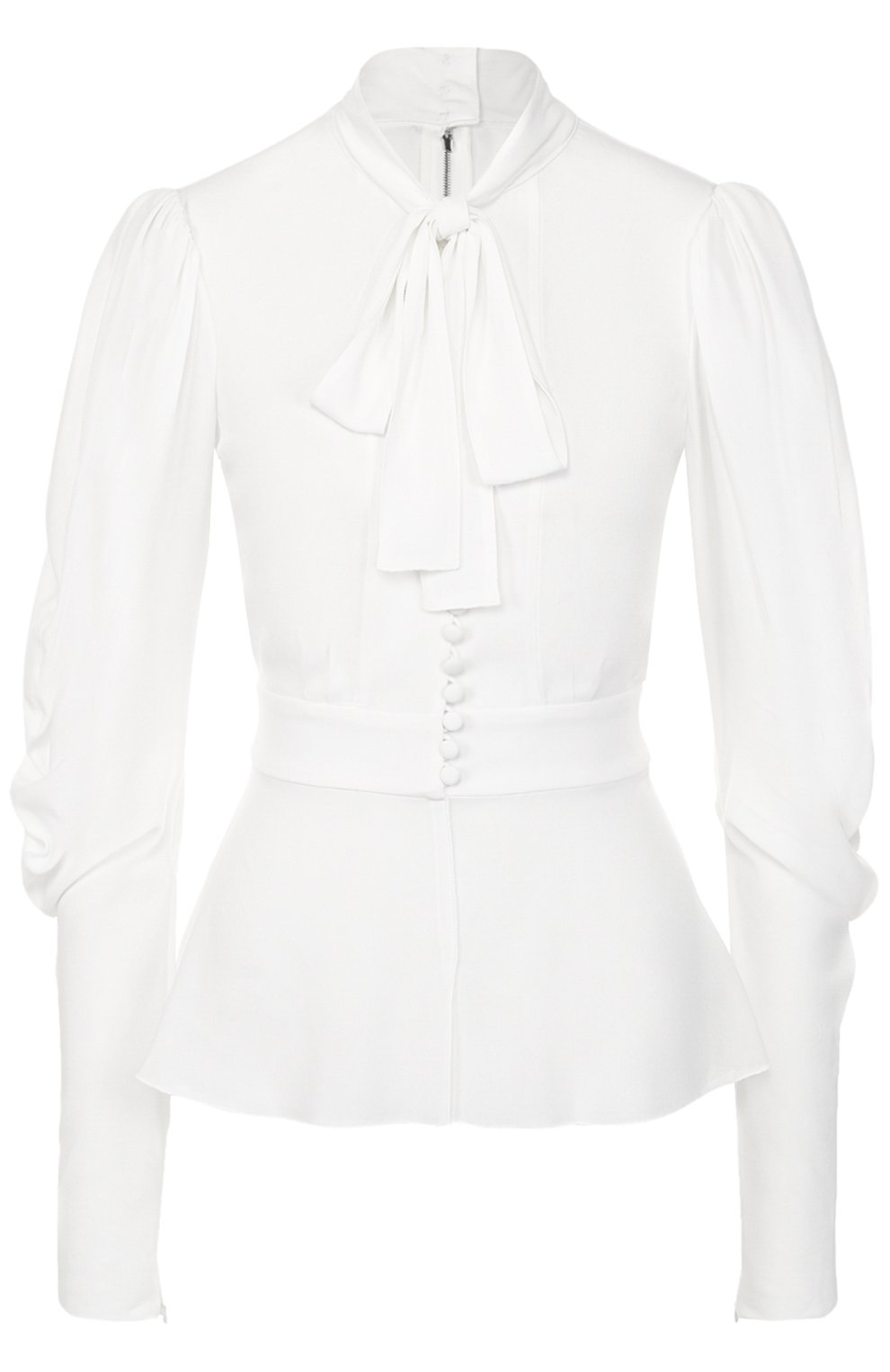 Приталенная блуза с воротником аскот | Фото №1