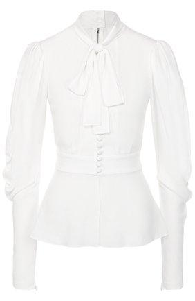 Приталенная блуза с воротником аскот Dolce & Gabbana белая | Фото №1