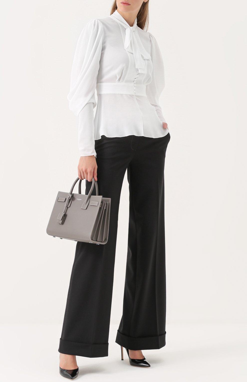 Приталенная блуза с воротником аскот Dolce & Gabbana белая | Фото №2
