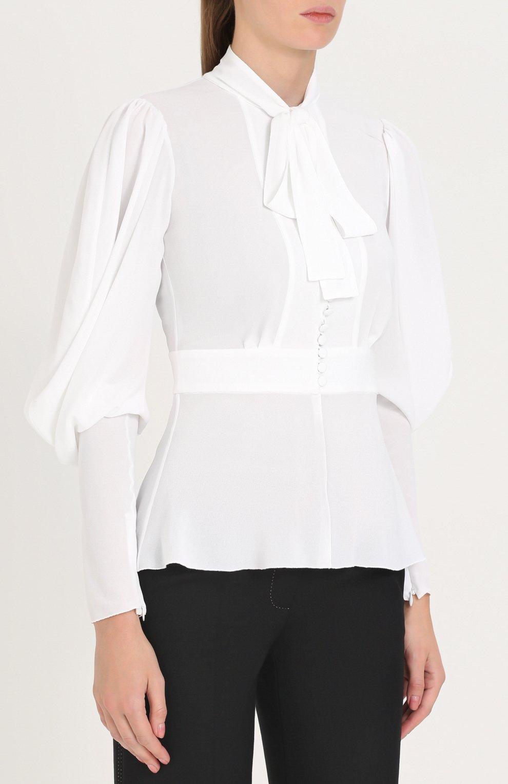 Приталенная блуза с воротником аскот Dolce & Gabbana белая | Фото №3