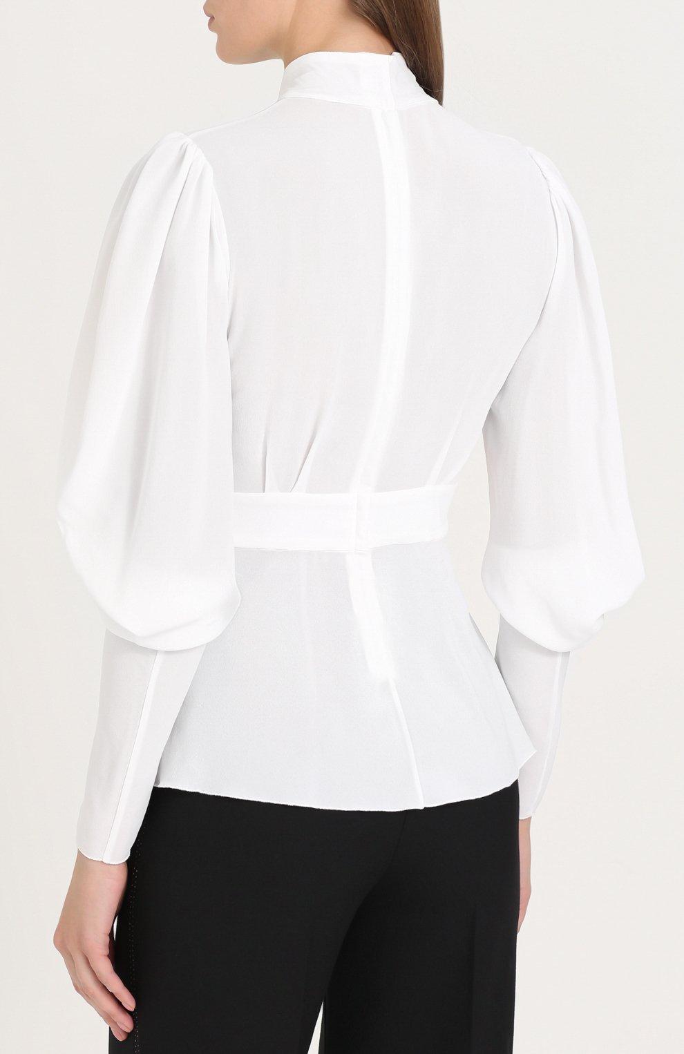 Приталенная блуза с воротником аскот Dolce & Gabbana белая | Фото №4