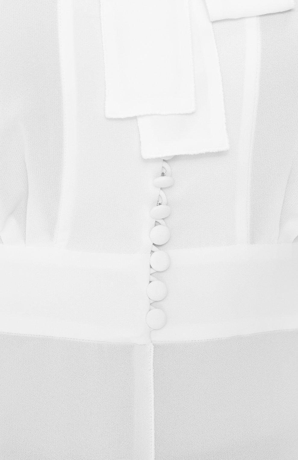 Приталенная блуза с воротником аскот Dolce & Gabbana белая | Фото №5