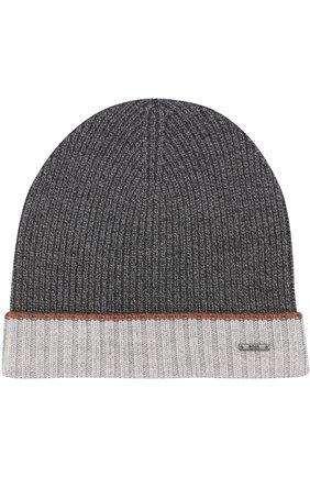 Мужская шерстяная вязаная шапка с контрастным отворотом BOSS серого цвета, арт. 50373850 | Фото 1