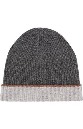 Мужская шерстяная вязаная шапка с контрастным отворотом BOSS серого цвета, арт. 50373850 | Фото 2