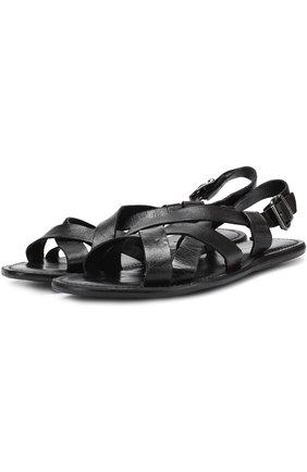 Кожаные сандалии на плоской подошве | Фото №1