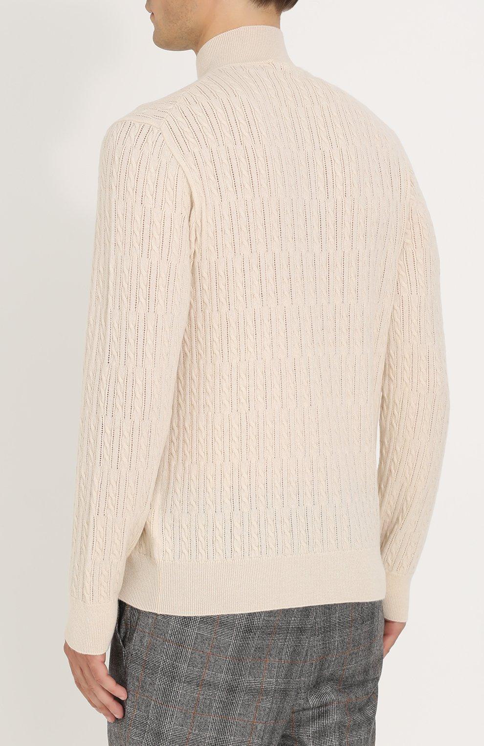 Кашемировый джемпер фактурной вязки с воротником на молнии | Фото №4