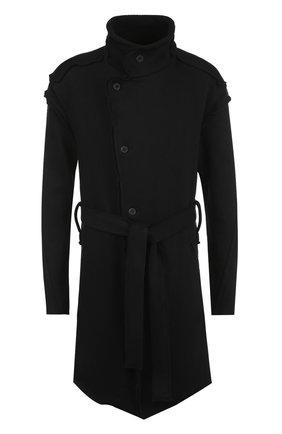 Однобортное хлопковое пальто с поясом | Фото №1