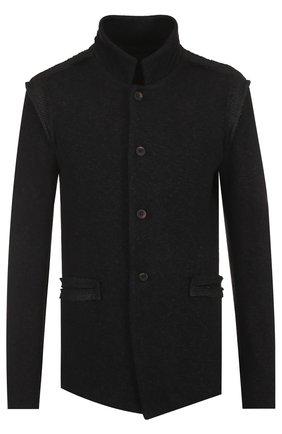 Однобортный пиджак из смеси хлопка и шерсти с воротником-стойкой | Фото №1