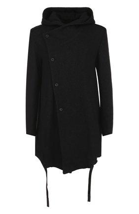 Однобортное пальто с капюшоном из смеси хлопка и шерсти | Фото №1