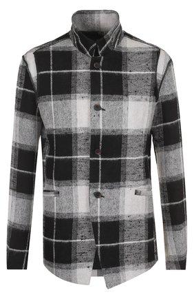 Однобортный пиджак из смеси льна и шерсти с воротником-стойкой | Фото №1
