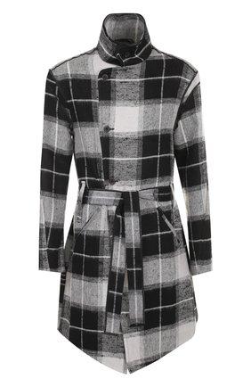 Однобортное пальто из смеси льна и шерсти с воротником-стойкой | Фото №1