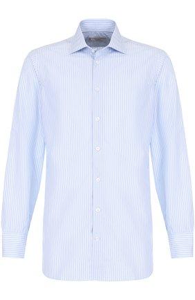 Хлопковая сорочка с воротником кент Turnbull & Asser голубая | Фото №1