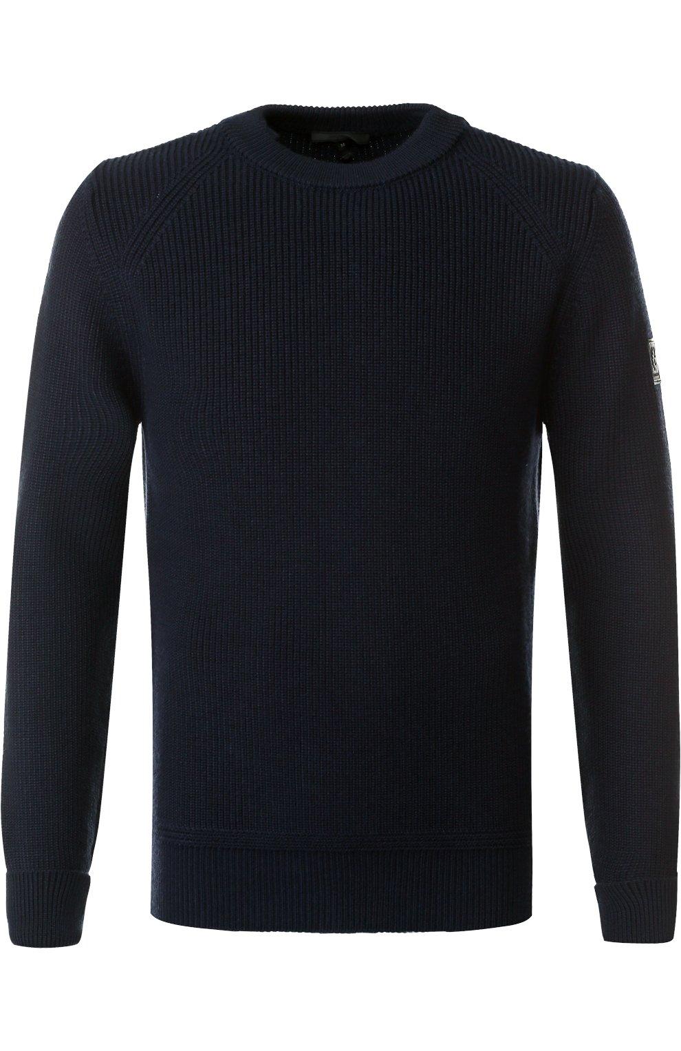 Шерстяной свитер с кожаной отделкой   Фото №1