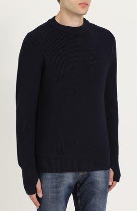 Шерстяной свитер с кожаной отделкой   Фото №3