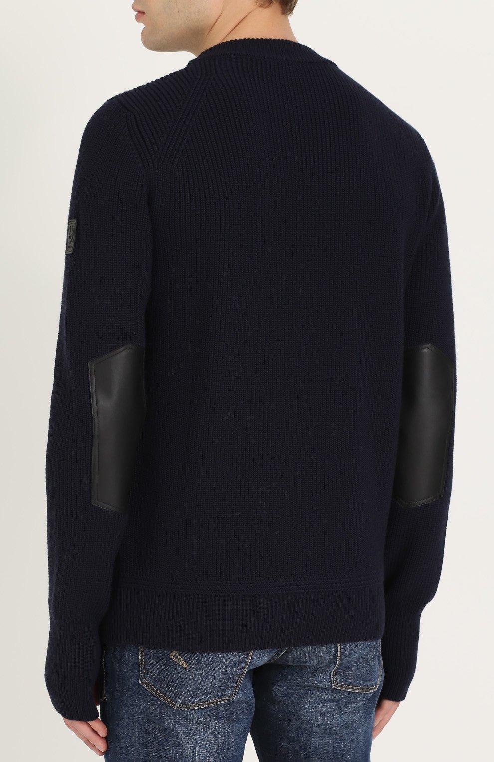 Шерстяной свитер с кожаной отделкой   Фото №4