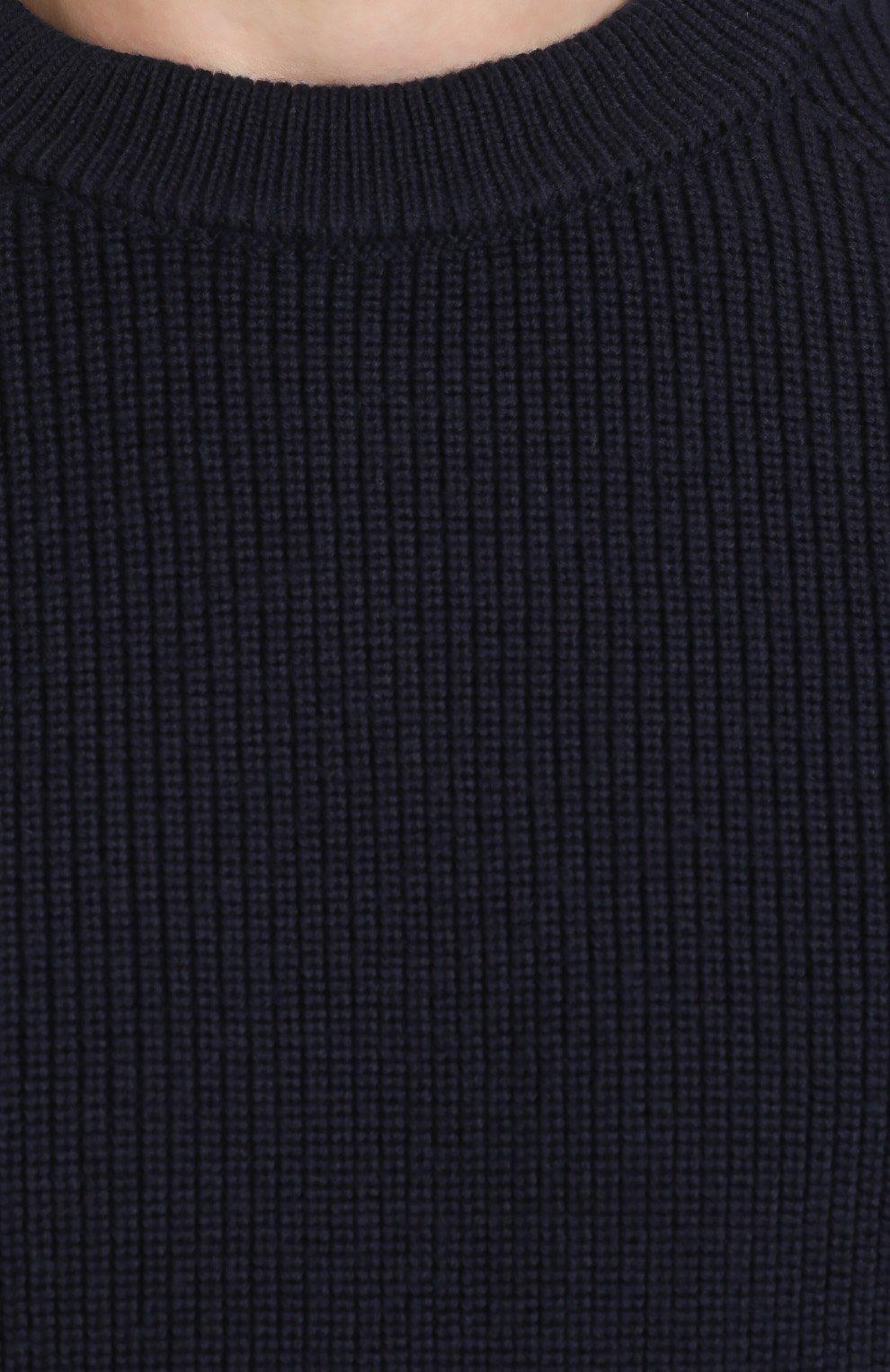 Шерстяной свитер с кожаной отделкой   Фото №5