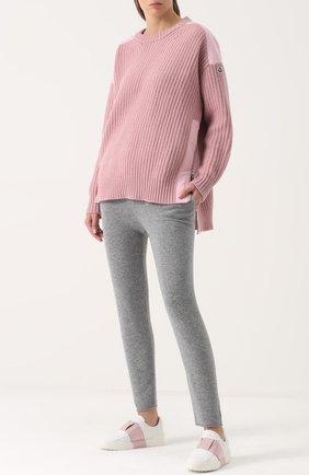 Женские кожаные кеды valentino garavani open с контрастной вставкой VALENTINO светло-розового цвета, арт. NW1S0A41/BVC | Фото 2