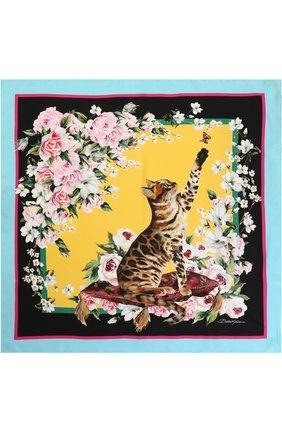 Шелковый платок с принтом Dolce & Gabbana желтый | Фото №2