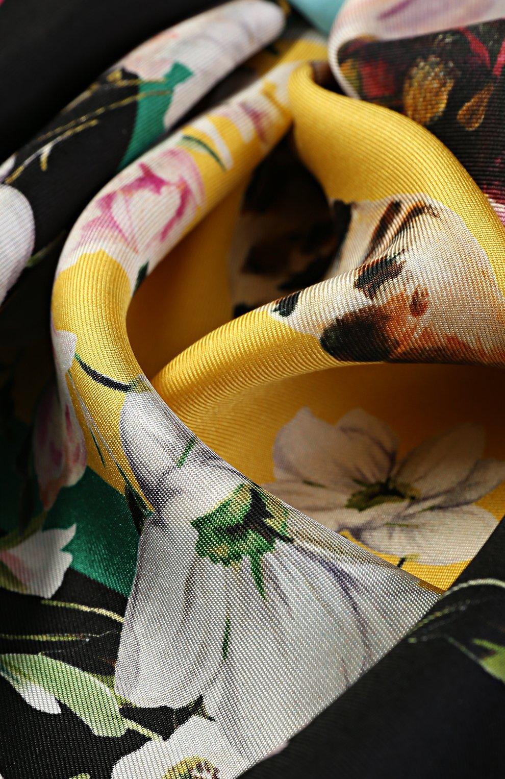 Шелковый платок с принтом Dolce & Gabbana желтый | Фото №3