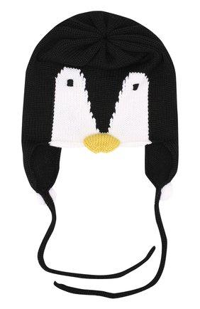 Детского шерстяная шапка с принтом и декором CATYA черного цвета, арт. 721579/F   Фото 1