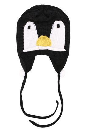 Детского шерстяная шапка с принтом и декором CATYA черного цвета, арт. 721579   Фото 1