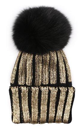 Детского шерстяная шапка с меховым помпоном и металлизированной отделкой CATYA черного цвета, арт. 721596/D   Фото 1