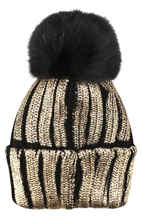 Детского шерстяная шапка с меховым помпоном и металлизированной отделкой CATYA черного цвета, арт. 721596/D   Фото 2