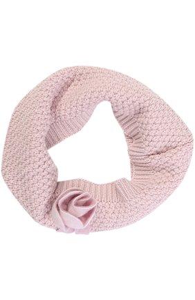 Шерстяной шарф-снуд фактурной вязки с декором | Фото №1