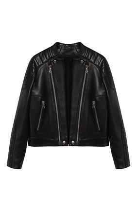 Детская кожаная куртка BALMAIN черного цвета, арт. P0E/2003/P055 | Фото 1
