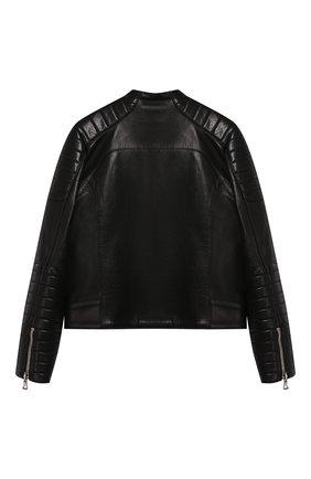 Детская кожаная куртка BALMAIN черного цвета, арт. P0E/2003/P055 | Фото 2
