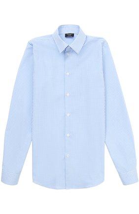 Хлопковая рубашка прямого кроя в мелкую клетку | Фото №1