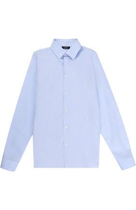 Детская хлопковая рубашка с воротником кент DAL LAGO голубого цвета, арт. N402/7815/XS-L | Фото 1