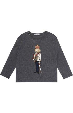 Детская хлопковый лонгслив с аппликацией Dolce & Gabbana темно-серого цвета   Фото №1