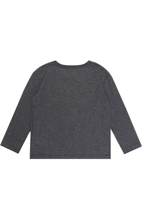 Детская хлопковый лонгслив с аппликацией Dolce & Gabbana темно-серого цвета   Фото №2