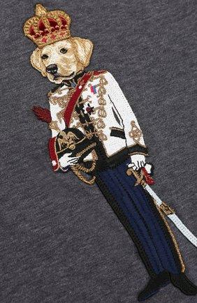 Детская хлопковый лонгслив с аппликацией Dolce & Gabbana темно-серого цвета   Фото №3