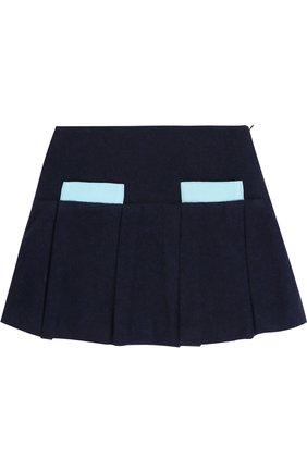 Шерстяная мини-юбка со складками и контрастной отделкой | Фото №1