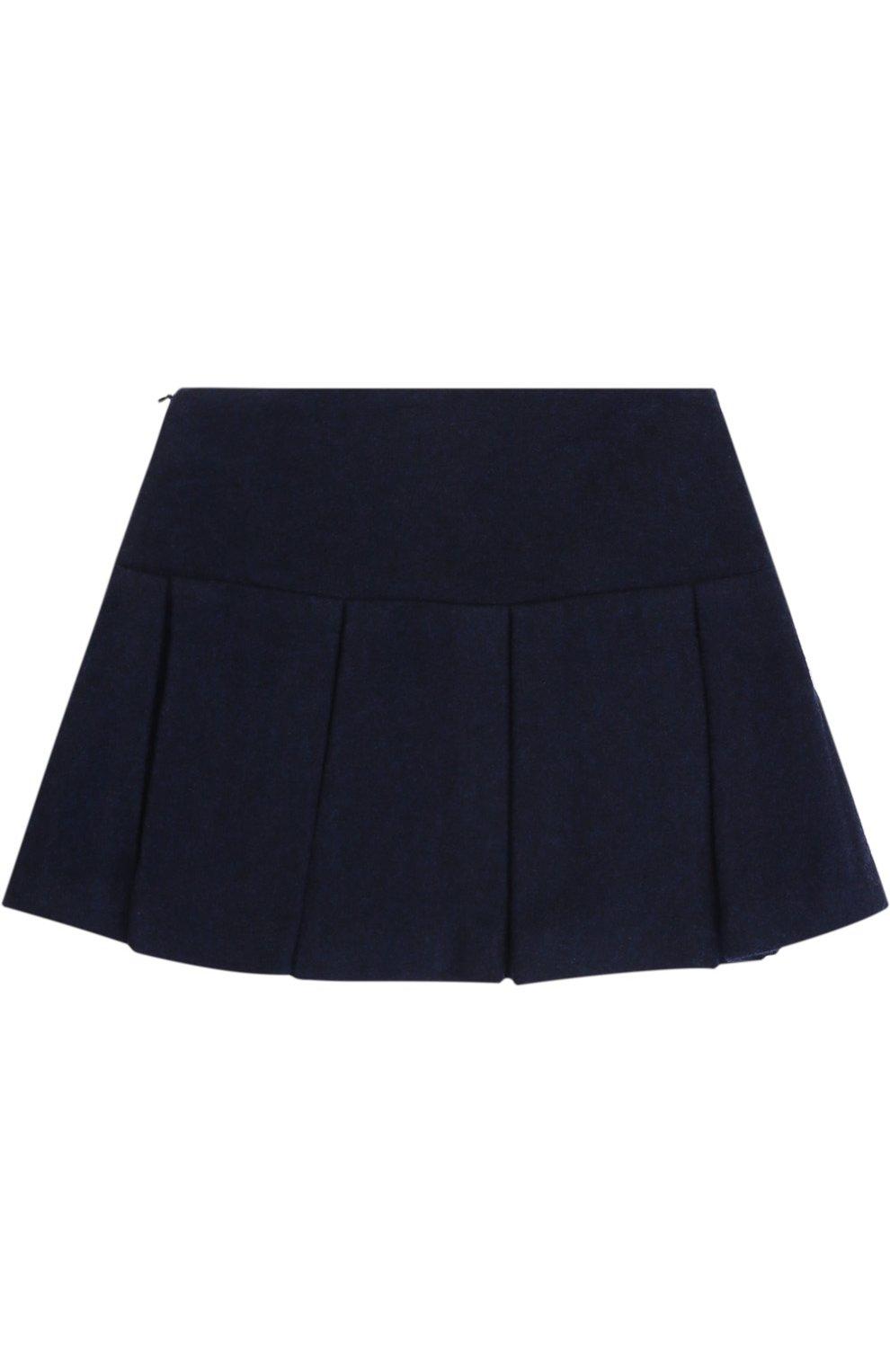 Шерстяная мини-юбка со складками и контрастной отделкой | Фото №2