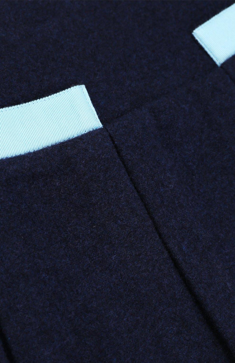 Шерстяная мини-юбка со складками и контрастной отделкой | Фото №3