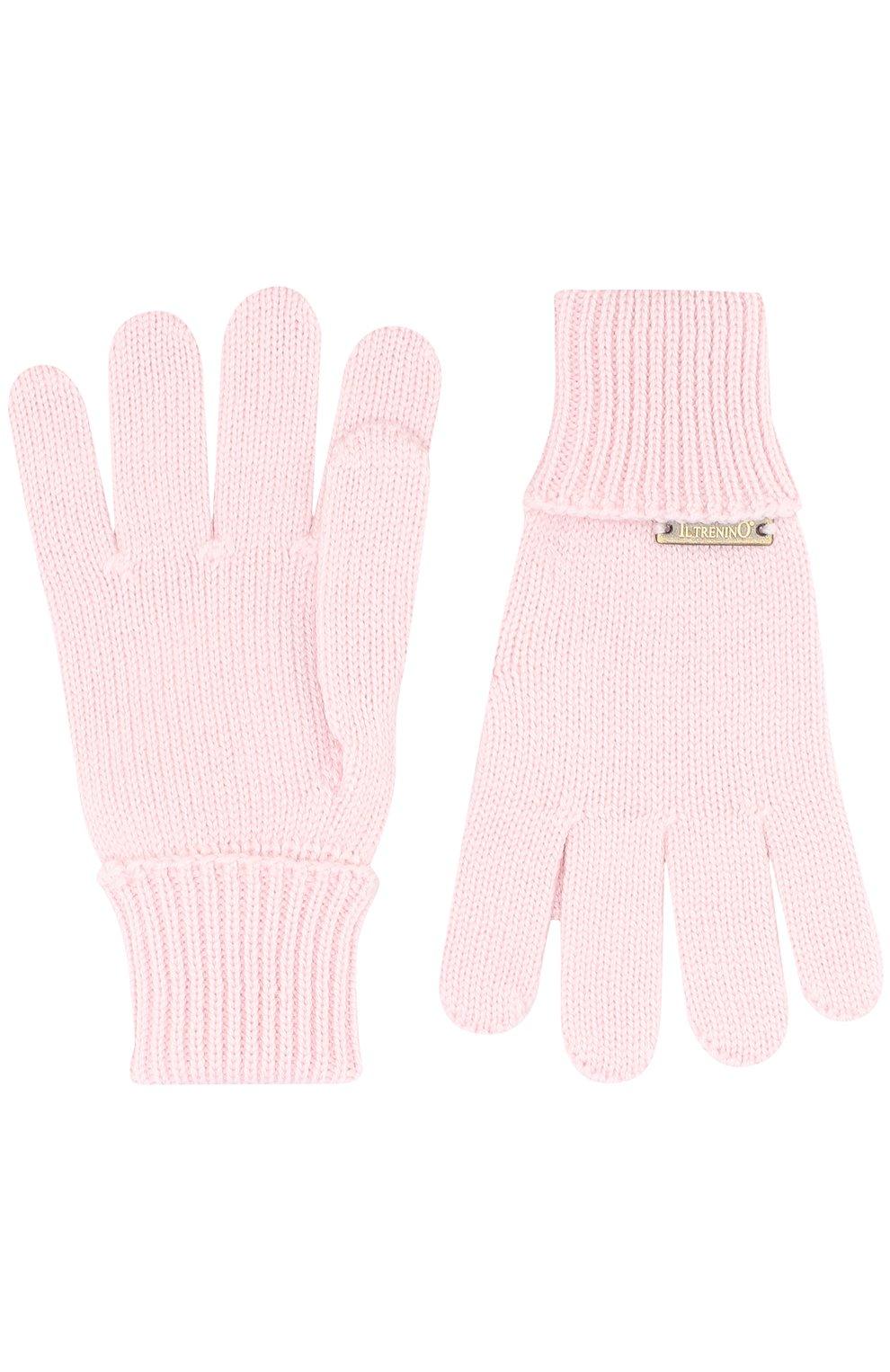Детские шерстяные перчатки IL TRENINO светло-розового цвета, арт. 17 5059/E3 | Фото 2