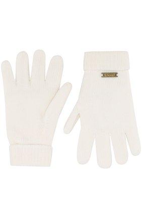 Детские шерстяные перчатки IL TRENINO белого цвета, арт. 17 9008/E0 | Фото 2