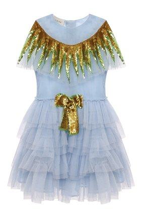 Многослойное платье с бантом и отделкой из пайеток | Фото №1
