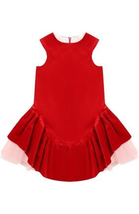 Хлопковое мини-платье с асимметричной юбкой и многослойной подкладкой | Фото №1