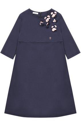 Платье-миди свободного кроя с цветочным декором | Фото №1