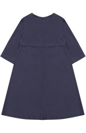Детское платье-миди свободного кроя с цветочным декором I Pinco Pallino синего цвета | Фото №1