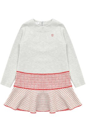 Мини-платье джерси с контрастной отделкой | Фото №1