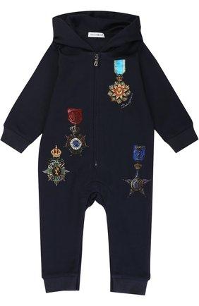 Хлопковый комбинезон с принтом Dolce & Gabbana темно-синего цвета | Фото №1