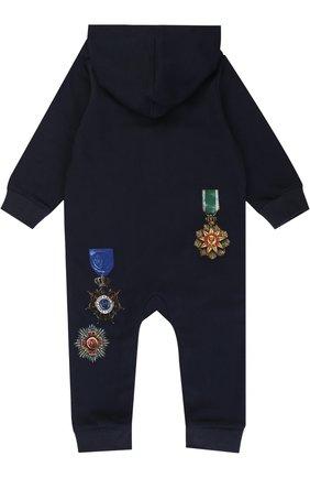 Хлопковый комбинезон с принтом Dolce & Gabbana темно-синего цвета | Фото №2